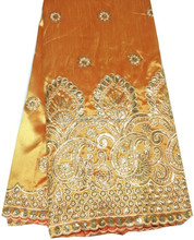 Orange+gold indian embroidery lace cotton george fabric with sequins for clothes