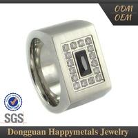 Highest Level Stainless Steel Customized Lasered Logo Red Neelam Stone Ring
