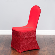 Red Factory Best Selling Superior quality glitter lycra chair cover wedding