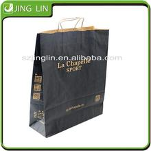 2015 China wholesale Luxury black gift shopping paper bag for promotion