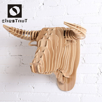 Most popular products 2015 wood carving animal bull head fashion shop decoration design