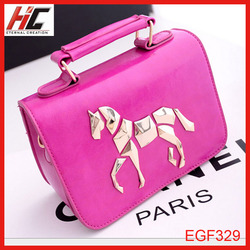2014 new arrival fashion hand made felt bags with horse pattern hot selling handle bag for girls
