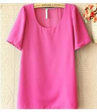2014 caliente venta de la mujer de primavera verano de moda camisas de dulce caramelo colores manga corta blusas de gasa 6354