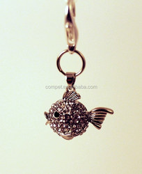 Wholesale Crystal Puffy Fish Pendant Charm for Pet Collars