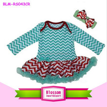 New wholesale Baby Xmas Aqua Green Red Chevron Bodysuit Tutu Party Dress Romper Pettiskirt0-24m