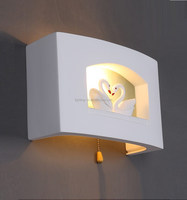 Kid's Bedroom Cute Ivory White Gypsum Swans Wall Lights Modern Corridor Bedsides Wall Lighting Fixtures