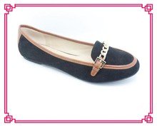 Black micro suede flats casual shoes new designs loafers for women