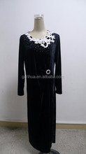 New product Lastest lace embroidery knot velvet fabric party dress