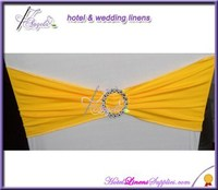 lemon single-layer spandex sash bands, lycra sash bands for chair covers, with plastic buckle