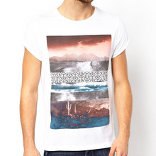 new model men t shirt with photographic print and roll sleeve