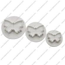 3 piezas Mariposa de plástico en forma de pasteles del cortador del émbolo y Moho,Herramientas de Pastel,utensilios fondant