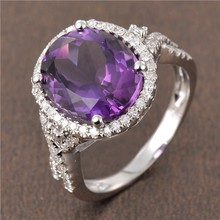 Solid 14K White Gold Natural 5.2ct Flawless Amethyst 0.42ct Diamond Wedding Ring