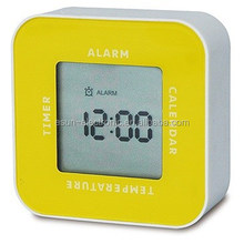 IKEA same one Four in one Multifunction digital LCD desk table rotated alarm clock with thermometer/promotional table clock