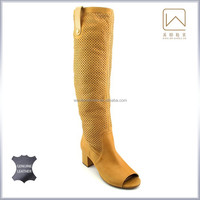 Women knee high gladiator open toe boots, summer season sandals , genuine leather in white color, 35-41SIZE, high quality