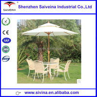 High quality China manufacture wooden patio umbrella with chairs
