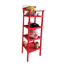 Vertical solid wood home bookcase,Leaning Ladder liberary Book case 4 tier Shelves Media Cases Wall Mount Stand Home