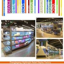 Light Duty Metal Supermarket Shelf With Wooden Backboard