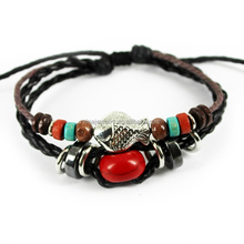 wholesale price faith red bead silver fish braid rope adjustable leather bracelet