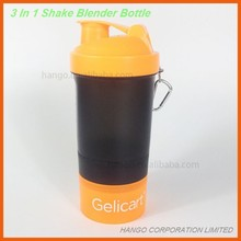 3 in 1 Protein Shake Bottle For Nutrition Health Fitness With Compartment