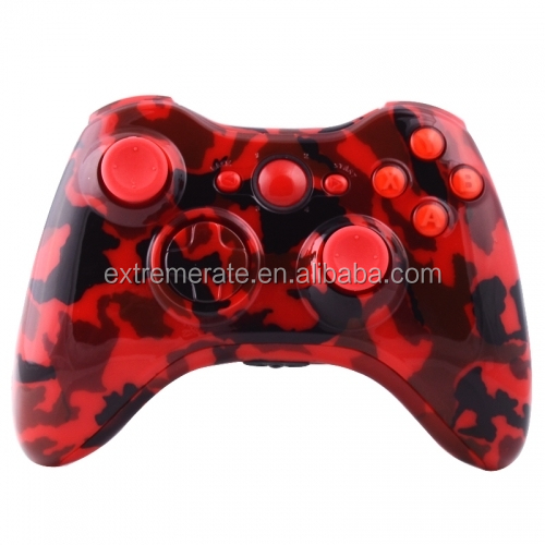 Custom Glossy Red Camouflage Repair Parts Complete Kits For Xbox 360 Controller Shell