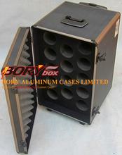 Aluminum metal wine carrier 14 bottle trolley case