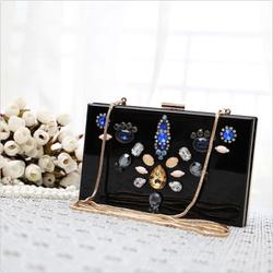 Pretty Shiny Handbag Purse Gem Embellishment lady's Gems Clutch Bag Evening bag