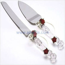 A05111 Crystal Red Roses Wedding Cake Knife Server Set
