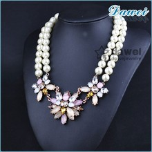 2015 Popular New product fashion rose flower lady's crystal jewelry necklace