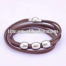 marrón rojizo oscuro cordón de cuero pulsera para hombre
