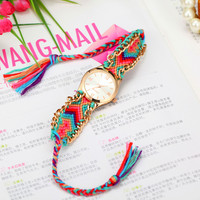 5 Colors New Fashion Brand Handmade Rope Bracelet Women Watch Geneva Hand-Woven Watch Ladies Quarzt Watch AW-SB-1110