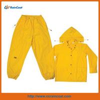 CLC Rain Wear Yellow Polyester 3-Piece Rain Suit Rubber Raincoat- XLarge