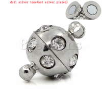China Magnetic Clasps Round Silver Tone Clear Rhinestone 13x9mm,5 Sets