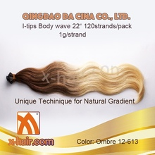 """100% Virgin Chinese Remy Human Hair Body wave 22"""" 1g/strand #12-613 Balayage color I-tips extensions"""