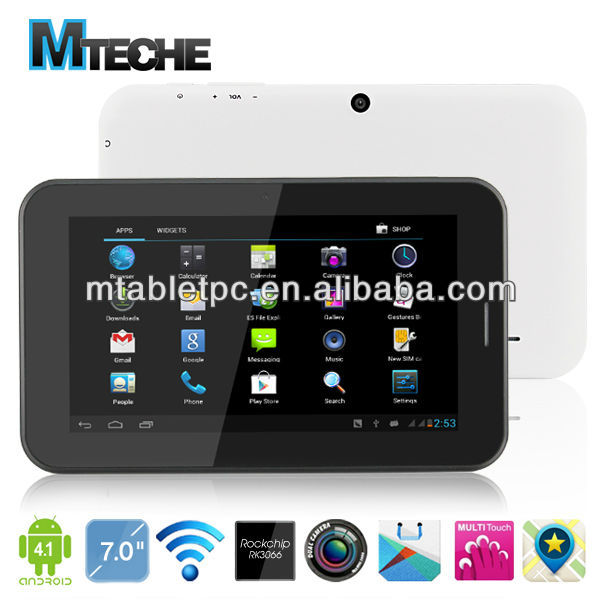 android4.1 rk2928 arm cortex a9 1.6 ghz, mali400 bluetooth wifi hdmi 2g telefonema 7 polegadas tablet <span class=keywords><strong>pc</strong></span>