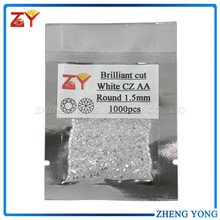 Classical round cut factory price 1.5mm white CZ stone for ring