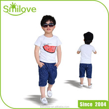 2015 China export branded children garment watermelon blank pocket t shirt wholesale