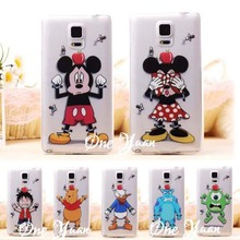 2015 Newest Cute Cartoon Darts Mickey Snow White Transparent Case For Samsung Galaxy Note 4 case TPU Cell Phone Cases Cover