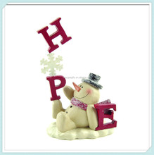 Hope with snowman resin christmas decoration