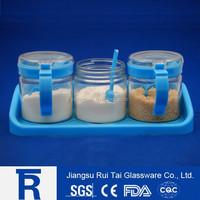 Clear glass seasoning jar with plastic caps/glass spice jar