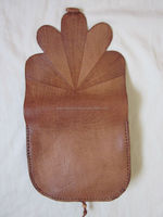 Unique Moroccan Handmade Leaf Shaped Genuine Leather Tan Bag