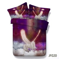 Luxury duvet cover Mystical Pegasus riding the clouds Latest digital print bed set