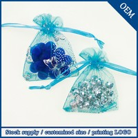 Wholesale 9x12cm Drawstring Light Blue Cosmetic Sheer Organza Pouch