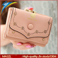 Low price New Classic dual trifold hollow short purse Eurpean Style Vintage hand wallet to important