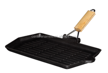 cast iron BBQ grill pan with removable handle
