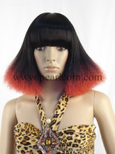 Synthetic 100% Kanekalon Toyokalon Japanese Fiber Specialized Black Red TT Colored Cosplay Wig