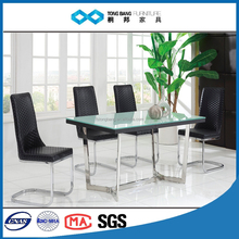 TB hot fashion stainless steel furniture modern glass dining table 6 chairs set