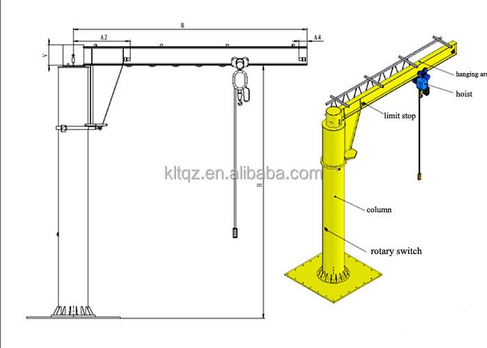 Jib crane parts drawing : Jib crane free body diagram overhead