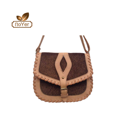 Latest design ladies hollow out shoulder bag vintage leather woven women messenger bag