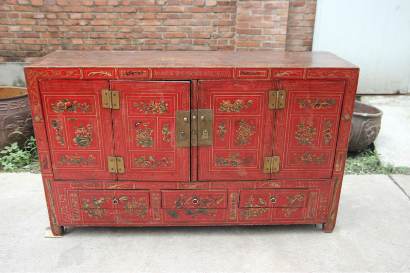 Distressed chinese handmade painted cabinet chinese for Oriental reproduction furniture