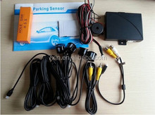3 in1 car mirror monitor+car rear view camera+4 Parking Sensor connected with DVD/monitor display